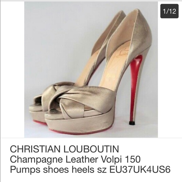 CHRISTIAN LOUBOUTIN Champagne Volpi 150 heels 37